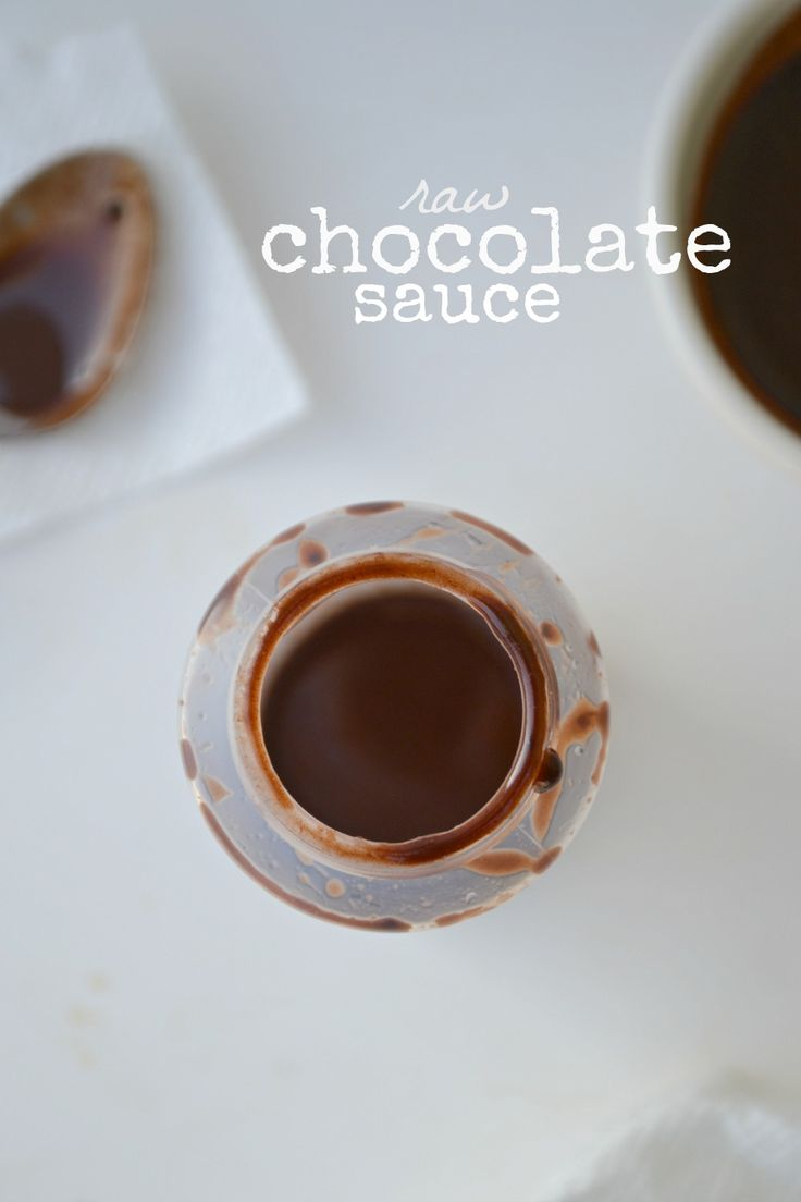 Chocolate sauce (raw & dairy free). Feel free to play around with the recipe: add a little almond milk, add more cocoa, add more maple syrup - it's your recipe now!