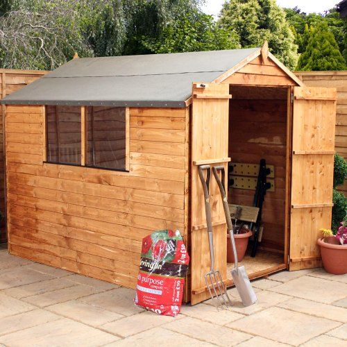 OXFORD: 8FT x 6FT SUPER SAVER OVERLAP APEX SHED WITH DOUBLE DOORS (Solid 10mm OSB Floor)