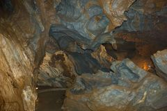 Ochtinska aragonitova jaskyna, Ochtinska aragonit cave, Slovak karst Mountains Royalty Free Stock Image