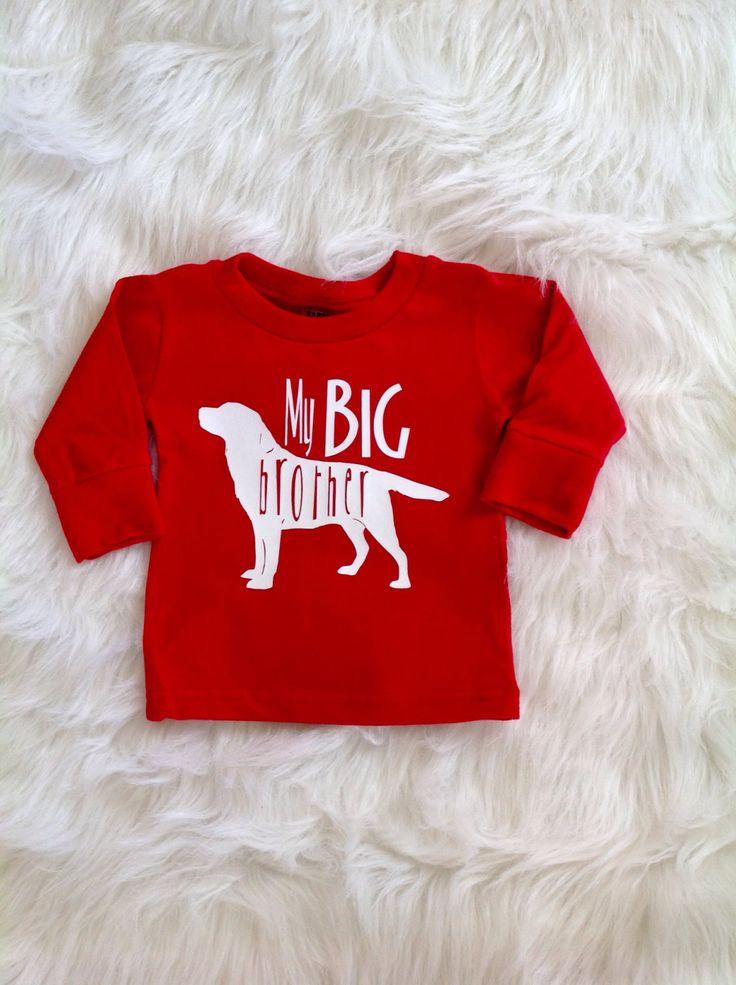 My big big brother is a dog shirt/  Labrador retriever/ Paw print on back/ toddler shirt by Liljopeepshop on Etsy
