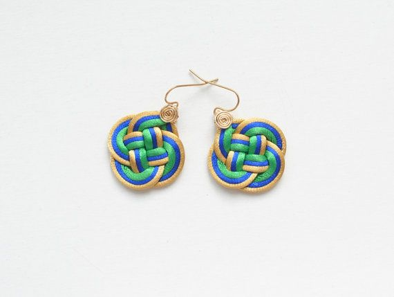 Knotted earrings chinese knot earrings colorful by elfinadesign