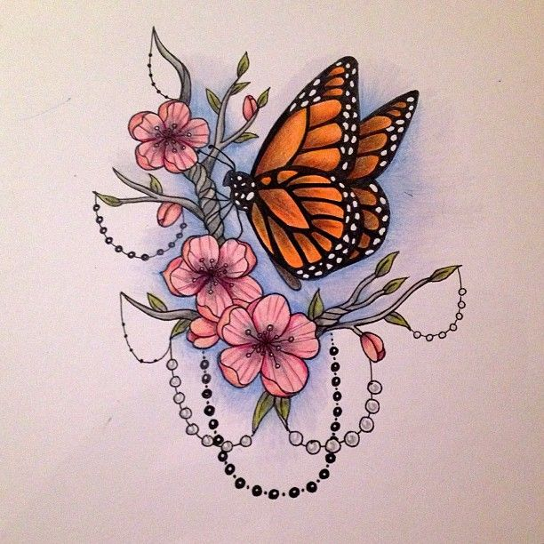 Monarch Butterfly On Flower Tattoo 207 best images...