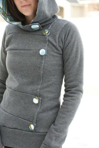 DIY an over-sized sweatshirt into a jacket. Very cute and fun to make. Had a hard time machine sewing the fabric into the hood and had to do it by hand. Love the end result!