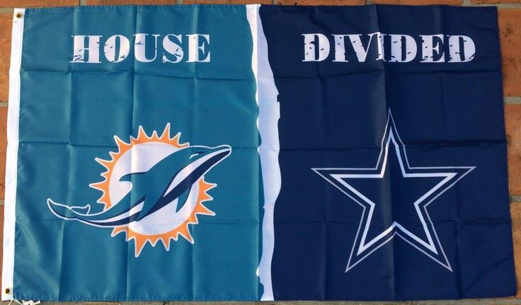 Dallas Cowboys and Miami Dolphins: House Divided Flag; 3'x5'