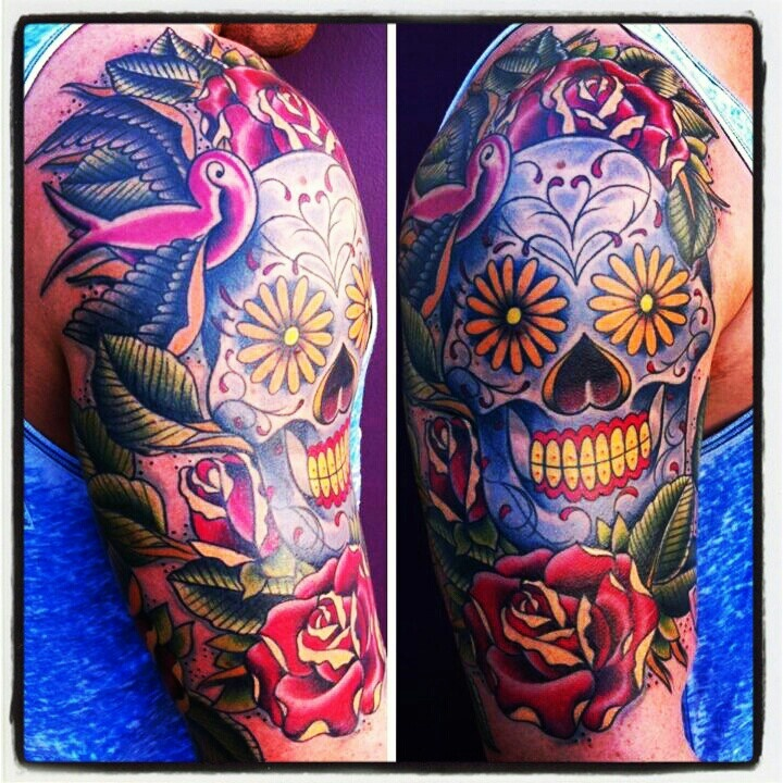 sugar skull day of the dead half sleeve tattoo neo tattoos pinterest tyxgb76aj this. Black Bedroom Furniture Sets. Home Design Ideas