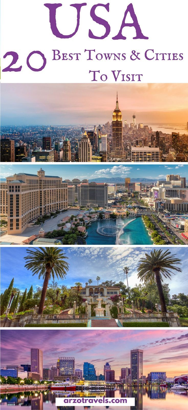 Find out which cities and towns in the US are the best to visit and which places should be on your USA itinerary. #usa