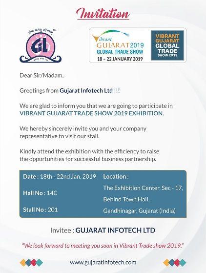 Invitation For Vibrant Gujarat Trade Show 2019 Exhibition