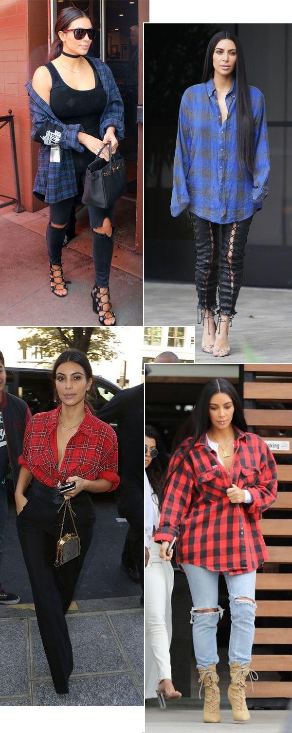 Kim Kardashian com camisa xadrez.