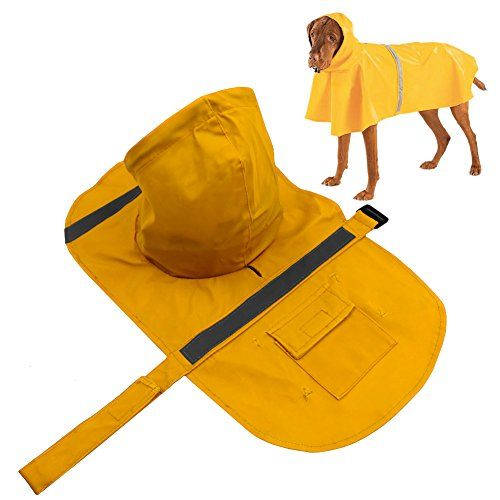 I just used this last weekend  Dog Raincoat, PETBABA Reflective Rain Jacket with Hood for Dogs Yellow XL follow this link click here http://bridgerguide.com/dog-raincoat-petbaba-reflective-rain-jacket-with-hood-for-dogs-yellow-xl/ for much more detail about it. Thanks and please repin if you like it. :)