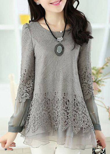 Enchanting Long Sleeve Round Neck Grey Chiffon T Shirt