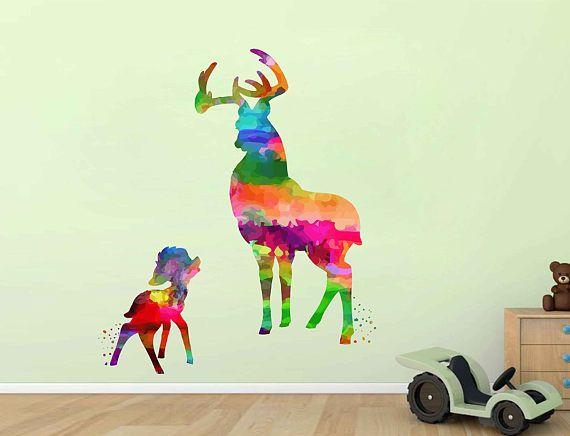 kcik2100 Full Color Wall decal Watercolor Bambi Character