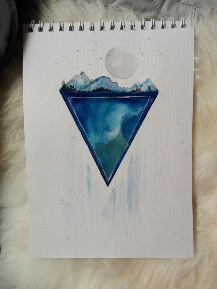 Watercolor abstract trees and moon on geometric form