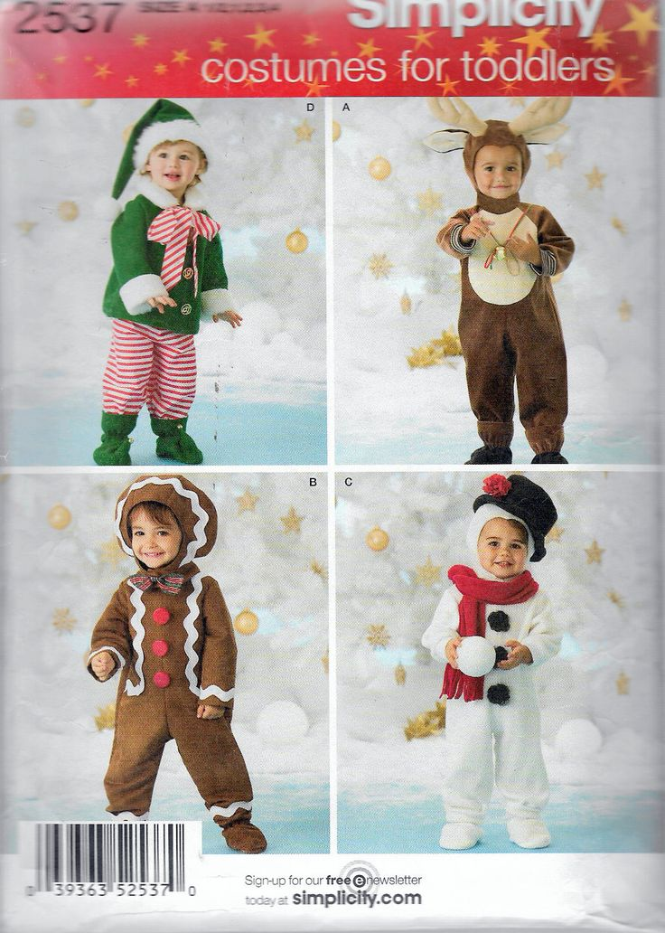 """Vintage 2009 Simplicity 2537 Toddler's Costumes Elf, Reindeer, Gingerbread Man, Snowman Sewing Pattern Size A 1/2-4, Chest 19""""-23' UNCUT by Recycledelic1 on Etsy"""
