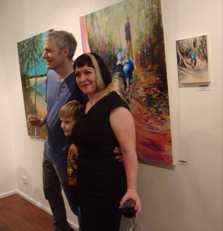 At opening of Man and Boy...with Man and Boy Anthea Polson Art Gold Coast October 2014