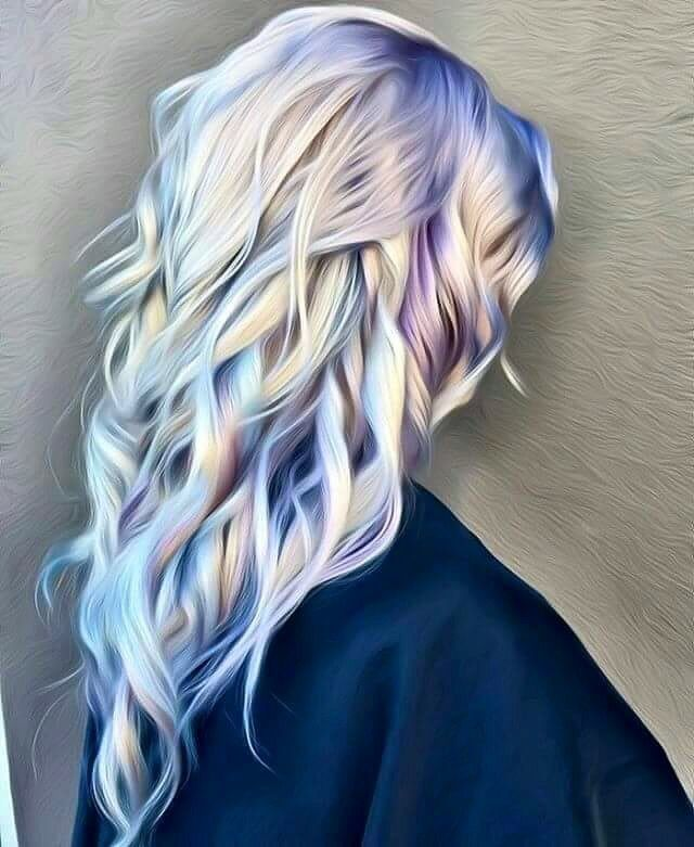 15 Inspirations Of Long Blonde Hair Colors: Platinum Blonde Hair With Blue & Purple