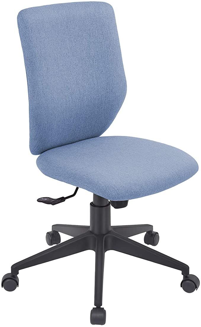 Amazon Com Bowthy Armless Office Chair Ergonomic Computer Task Desk Chair Without Arms Mid Back Fabric Swivel Chair Blue Kitchen Office Chair Chair Armless