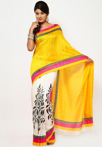Printed Yellow/White Cotton Saree Online Shopping - Sattika | SA039WA94HYJINDFAS