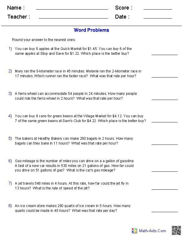 Ratio And Proportion Worksheet 6th Grade Math Word Problems Worksheets In 2020 In 2020 Word Problem Worksheets Word Problems Math Word Problems