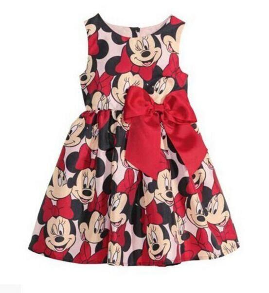Venta al por menor de Dibujos Animados Minnie Mouse ropa de los niños vestido de la muchacha del bebé niños del partido trajes de Ocio de moda precioso Vestido de algodón(China (Mainland))