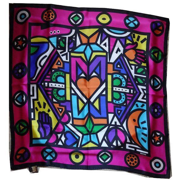 Authentic Vintage Moschino silk scarf di Leschosesdemanu su Etsy
