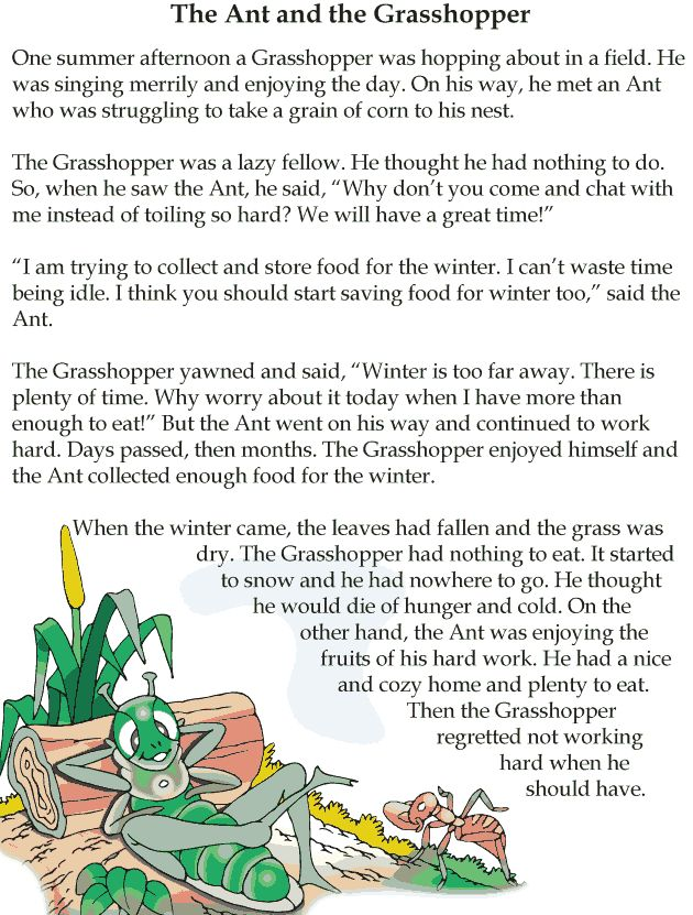 This is an image of Remarkable The Ant and the Grasshopper Story Printable