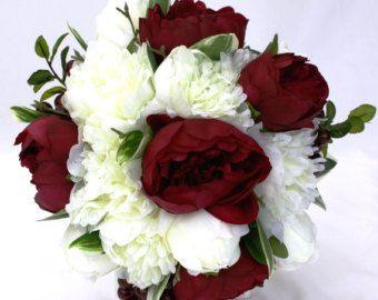 burgundy peony bouquet for purchase   Peony Bridal Bouquet - Burgundy and White, Keepsake Peony Wedding ...