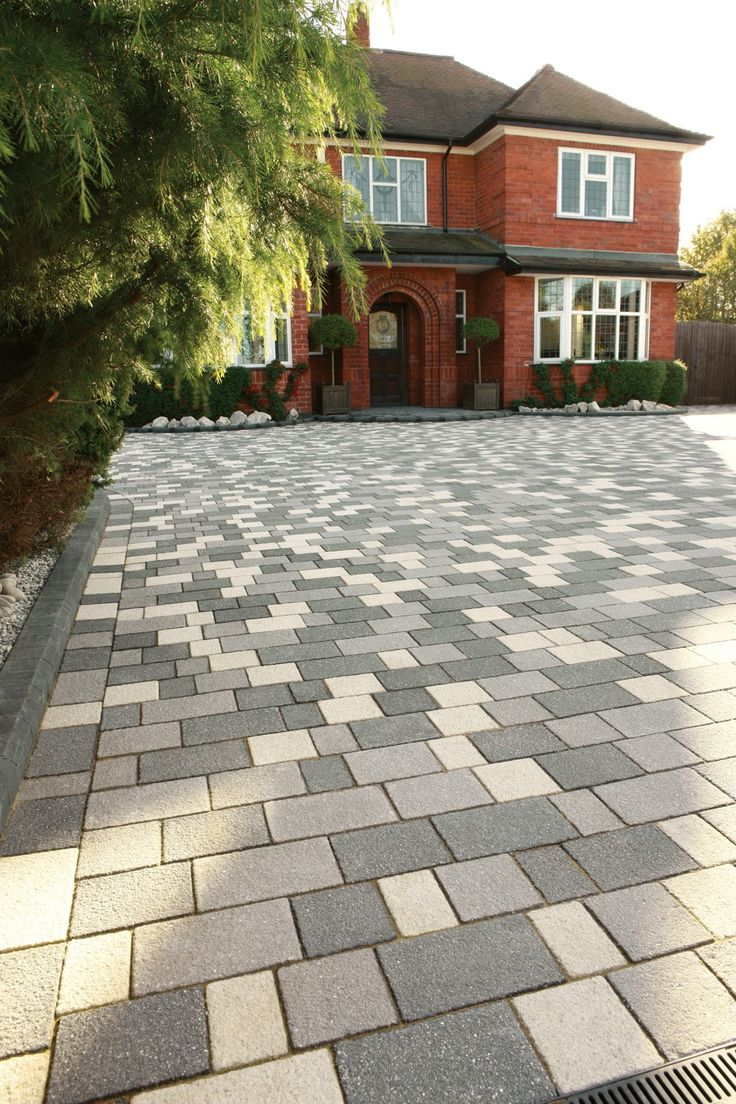 Contemporary with front steps gray brick driveway gray brick driveway - Stoneflair By Bradstone Panache Block Paving Midnight Grey Textured Mixed Sizes Per Pack