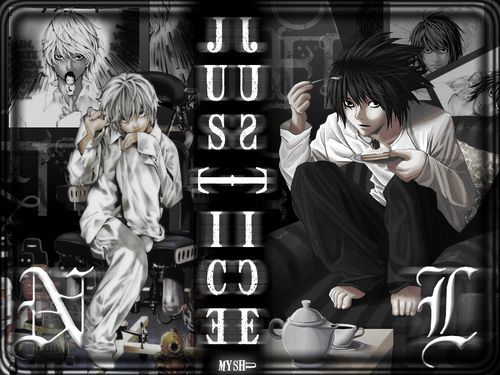 Death Note | L and Near | Wallpaper #L #Lawliet #Death #Note #Death Note #エル・ローライト #Eru #エル #Rōraito #Hideki Ryuga #流河=旱樹 #Ryuzaki #竜崎 #Eraldo Coil #エラルド=コイル #Deneuve #ドヌーヴ #Suzuki #スズキ #Detective #Kira #Shinigami  #Manga #Anime #Fan Art #Kappei Yamaguchi #Japanese #Alessandro Juliani #English #Tsugumi Ohba #Takeshi Obata  #Near #Nate River #ネイト・リバ