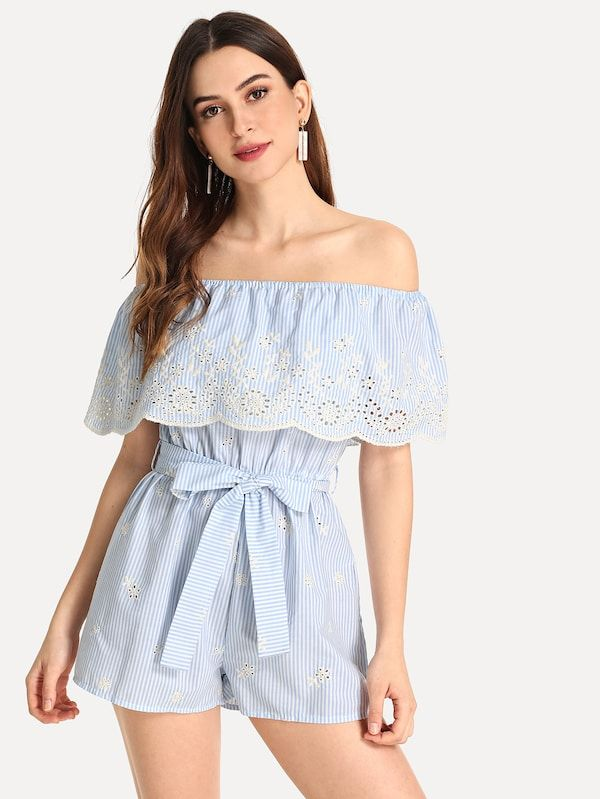 3771a4aa31f Off Shoulder Embroidered Eyelet Belted Striped Jumpsuit -SheIn(Sheinside)