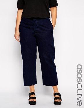 ASOS CURVE – Weite Jeans mit hoher Taille und Schnalle in Indigoblau