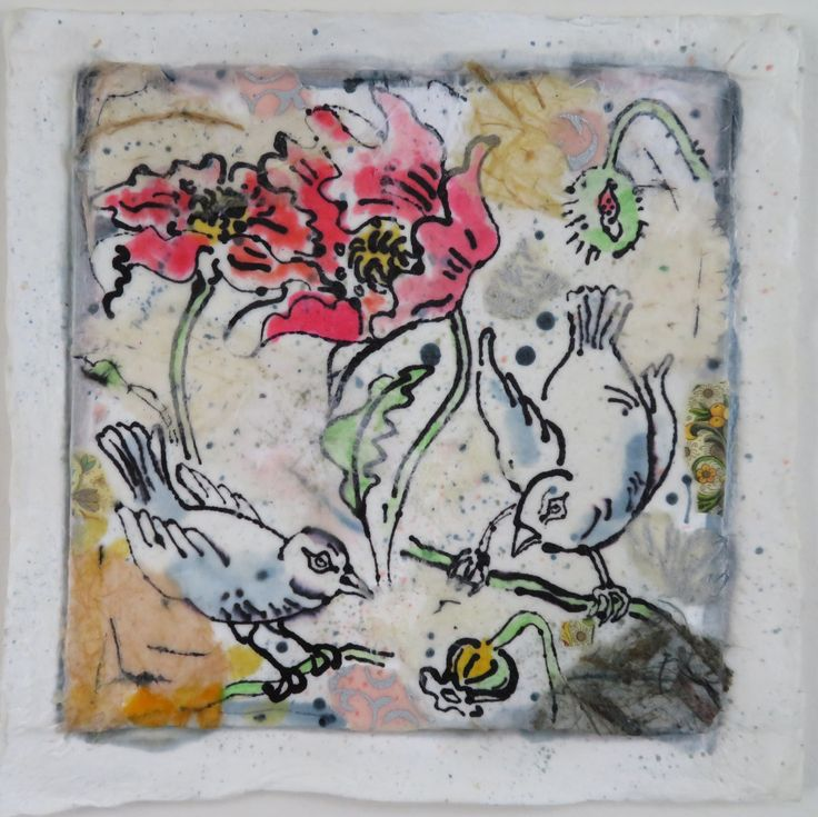 Blue Birds in Poppy Field, encaustic, ink and collage on hand cast paper by Gerri Ann Siwek