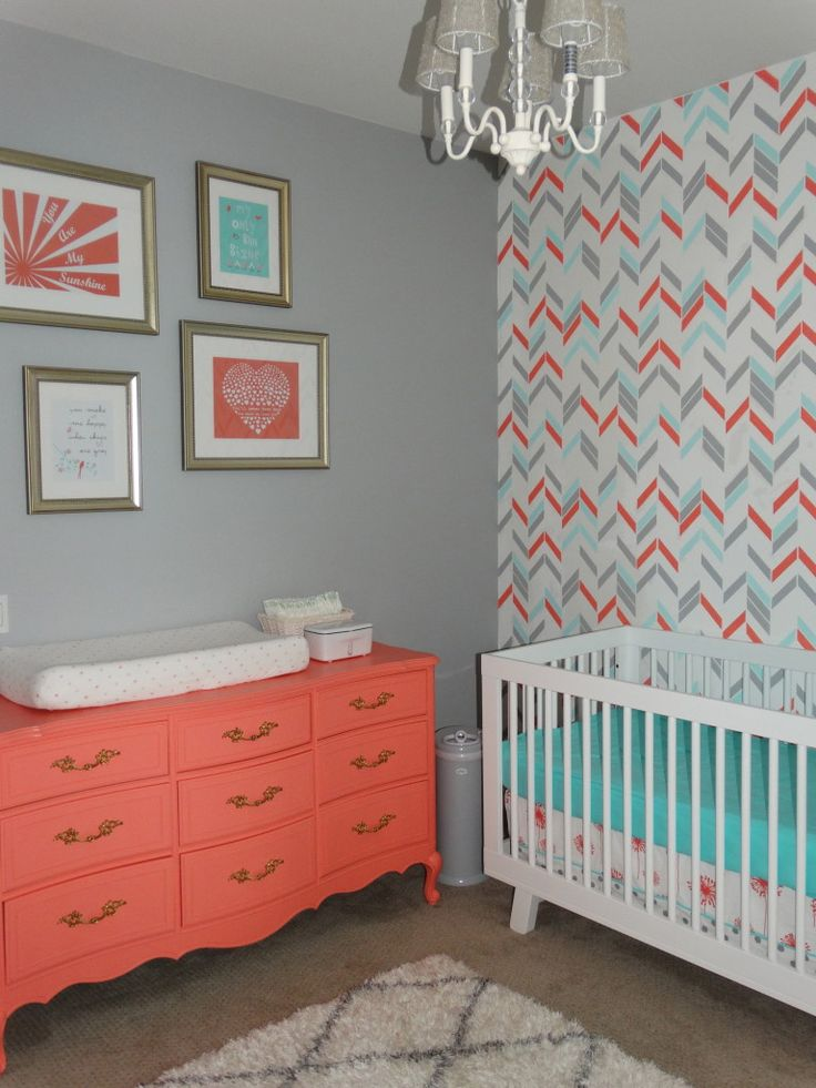 I like that printed wall!! Adorable Coral, Aqua and Grey Nursery | Herringbone Shuffle Stencil | Royal Design Studio