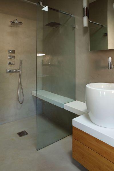 r novation salle de bain douche sans joint et sans carrelage le b ton beton cir et douches. Black Bedroom Furniture Sets. Home Design Ideas