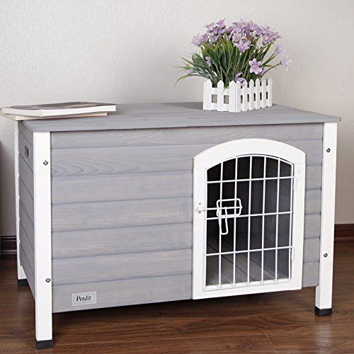 "Petsfit 31""Lx21""Wx21""H Indoor Dog House Wooden With Door For Small Dog Color Grey -- You can find out more details at the link of the image."