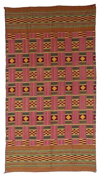 Africa   Ashante Kente Style Cloth, purchased in Ghana   It mimics the form and pattern of a Kente but is woven from cotton in two large pieces, different front and back, not strip-woven. It was purchased with other Kentes so it is probably from the Asante people.