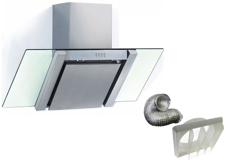 Cookology ANG900GL - Angled Glass Chimney Cooker Hood 90cm Stainless Steel with Ducting Kit: Amazon.co.uk: £150 750m³/hour 68 Db