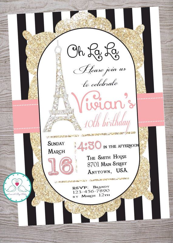 Pink Black and Gold Paris themed birthday party invitation.  Designed by Love-A-Bye-Baby