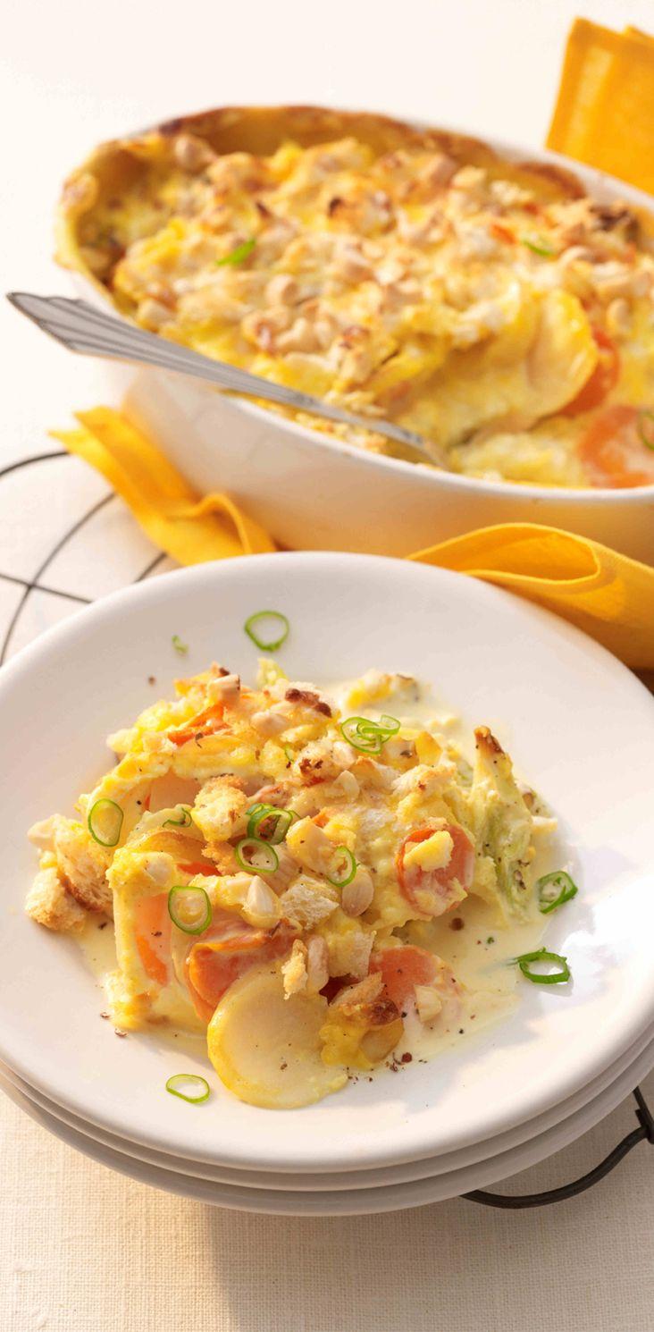 Gemüsegratin mit Käse-Mandel-Kruste  #hochland #käse #rezept #käsecreme #recipe  #veggies