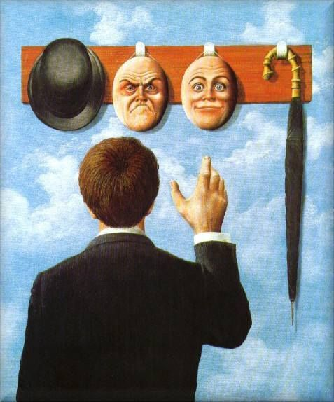 "René Magritte. Surreal, or real? Don't we all put masks on every day in the ""social construction of reality. ""um what face shall I wear today?"