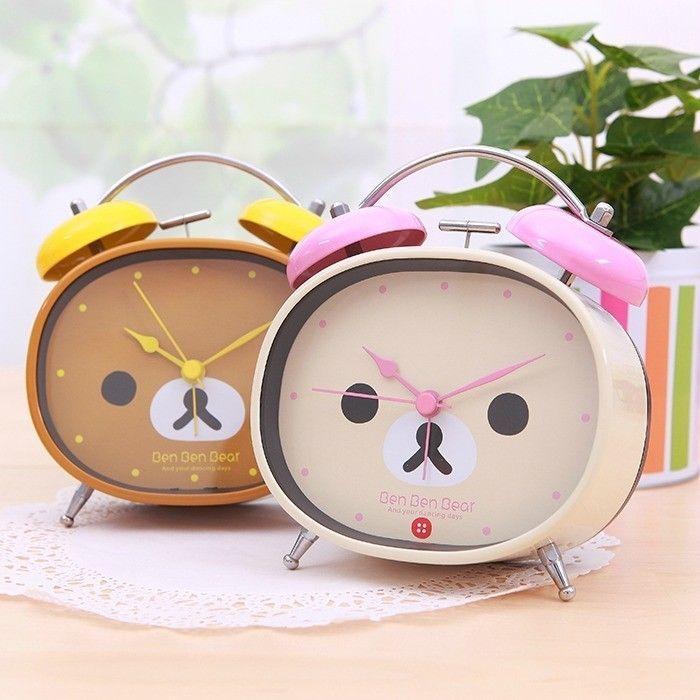 """Rilakkuma"" Cute Table Desk Analog Alarm Clock Silent Battery Home Decor Gift #Unbranded #Asian"