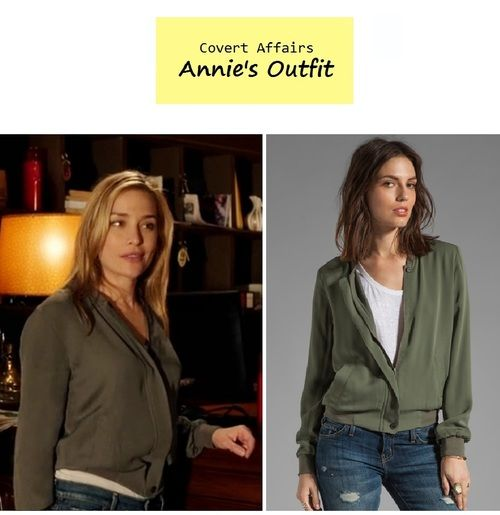 """On the blog: Annie Walker's (Piper Perabo) olive silk bomber jacket 