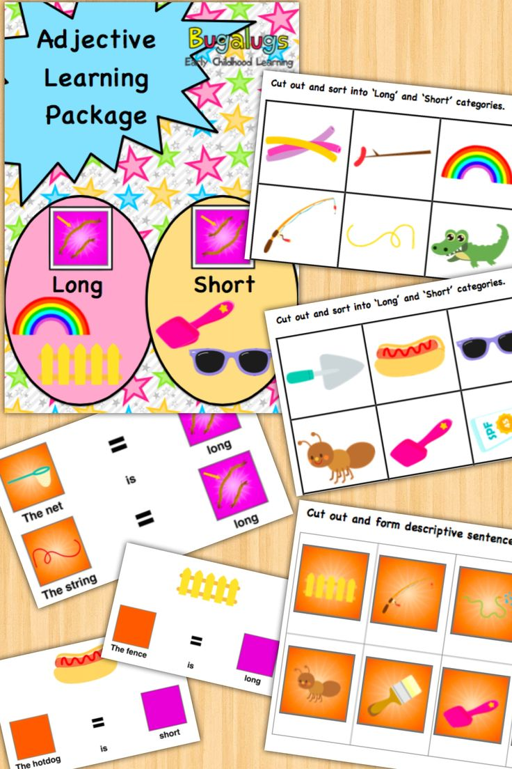- Long and Short Concept Learning Package -Learn the adjectives 'long' and 'short' in this fully inclusive package of activities and flashcards. Use the provided activities to help the child categorise everyday objects into 'long' and 'short', form descriptive sentences using these adjectives and much more. Perfect for Speech Pathologists, ESL and special needs / special education teachers.