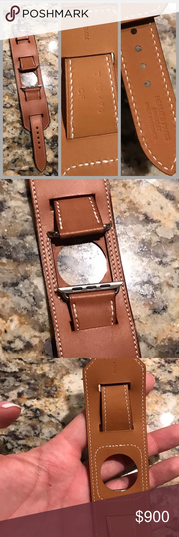 BRAND NEW HERMES RETIRED APPLE WATCH CUFF BRACELET BRAND NEW HERMES APPLE BAREINA FAUVE CUFF. BRAND NEW (BUCKLE STILL IN PLASTIC FROM HERMES) GUARANTEED AUTHENTIC. WORKS WITH APPLE WATCH 42MM GEN 1 OR GEN 2 APPLE. PLEASE NOTE WATCH NOT INCLUDED. BRAND NEW NEVER WORN AND GUARANTEED AUTHENTIC AS ALWAYS. PRICE FIRM NO TRADES IF I CANNOT SELL I WILL KEEP AS A BACKUP (I ALREADY HAVE 1) BEST APPLE WATCH STRAP EVER Hermes Accessories Watches