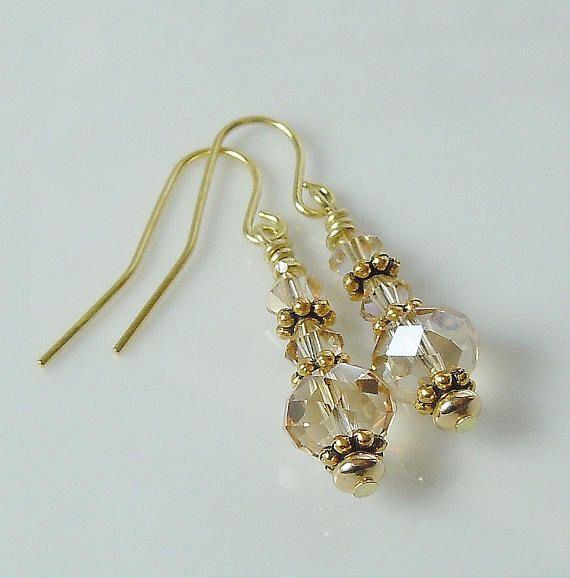 Stunning Swarovski Crystal Golden Shadow Earrings