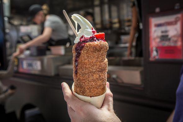 Toronto's Top 5 Food Trucks: 1. Eva's Original Chimneys 2. M.E.N.U (Asian fusion) 3. Fidel Gastro's 4.Sushitto On The Road 5. Feasto For Locations + More Info: http://torontofoodtrucks.ca/ BlogTO