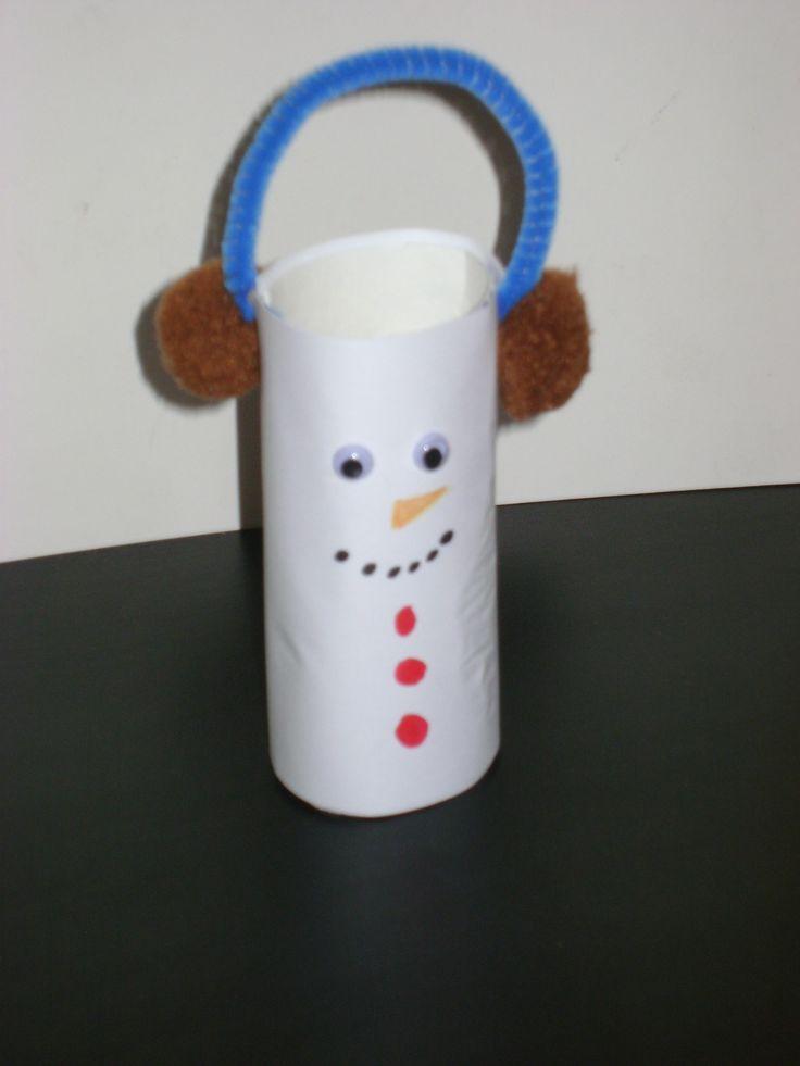 """""""Fülvédős hóember""""-nek neveztem el! Zseníliadrót + pompon és wc papír guriga, a fő eszközök, amikből készült."""