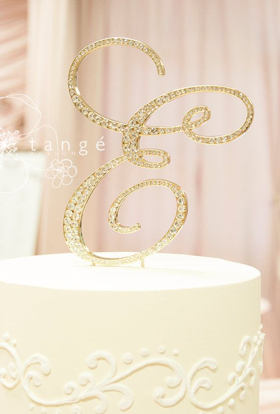 Initial gold metal rhinestone cake toppers in elegant for Letter g decoration