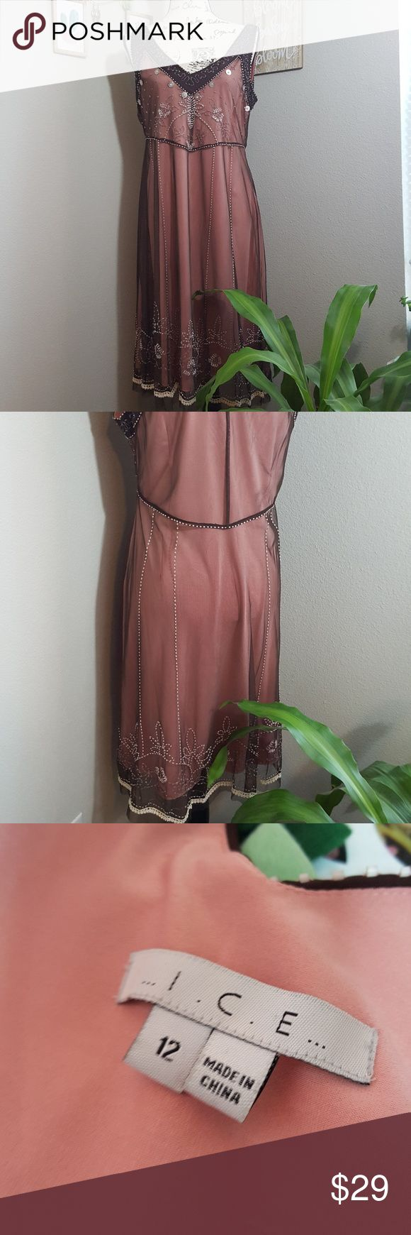 ICE Pink and Brown Embellished Shift Sooo pretty!! Definitely Gatsby esque. Light pink lining with sheer brown mesh like overlay with beautiful crystals and embellishments. Side zip. GUC prom wedding party dress Ice Dresses