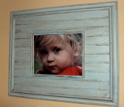 Homemade Rustic Frame --  I love the look of the beaded board.