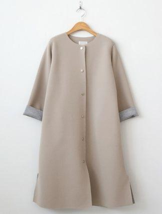 コート ◆韓国◆3色♪ノーカラー配色ネオプレンAラインコート(15)